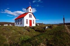 Igreja Branco-vermelha, Islândia Fotografia de Stock Royalty Free