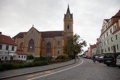 Igreja Católica de Jan Nepomuk perto do castelo do ¡ nad Vltavou de Hlubokà Imagem de Stock