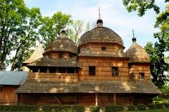 Igreja Católica grega ucraniana de madeira da mãe santamente do deus dentro fotografia de stock