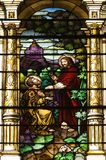 Igreja católica Windows manchado imagens de stock royalty free