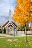 Igreja cristã moderna em Eslováquia na luz do sol Fotos de Stock