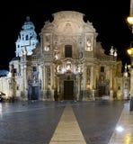 Igreja da catedral de Murcia na noite Imagens de Stock Royalty Free