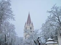Igreja da cidade de Silute, Lituânia foto de stock