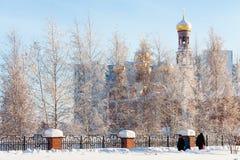 Igreja da natividade na cidade de Nizhnevartovsk durante o inverno Foto de Stock Royalty Free