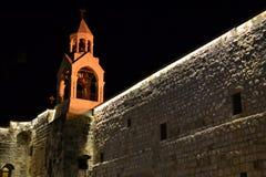 Igreja da natividade na Noite de Natal em Bethlehem, Cisjordânia, Palestina, Israel fotos de stock