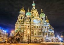 Igreja da opinião da noite do salvador no sangue Spilled em St Petersbu fotografia de stock royalty free