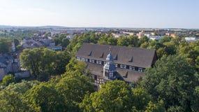 Igreja da paz em Jawor, Polônia, 08 2017, vista aérea fotos de stock royalty free