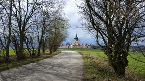 A igreja da peregrinação no hora de Zelena na república checa, patrimônio mundial do UNESCO Fotos de Stock