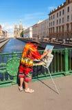 Igreja da pintura do artista do salvador no sangue Spilled em Petersburgo Imagens de Stock Royalty Free