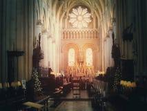 Igreja da universidade do tiro de oxford no sepia Imagem de Stock