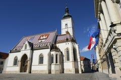 A igreja das marcas do St em Zagreb, Croácia Imagem de Stock Royalty Free