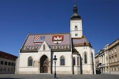 A igreja das marcas do St em Zagreb, Croácia Imagens de Stock Royalty Free
