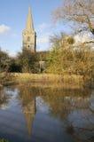 Igreja de Ashleworth na inundação imagens de stock royalty free