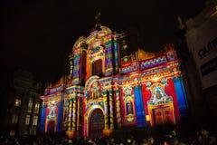 Igreja de CompañÃa do La iluminada com laser Foto de Stock Royalty Free