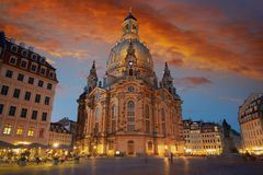 Igreja de Dresden Frauenkirche em Saxony Alemanha Fotografia de Stock Royalty Free