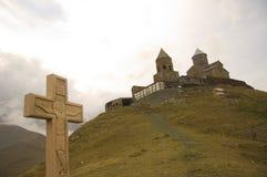 Igreja de Gergeti, Stepantsminda, Geórgia. Imagens de Stock