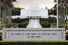 A igreja de Jesus Christ do templo anterior de Laie Havaí de Saint foto de stock