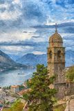 Igreja de Kotor de nossa senhora Digital Painting Fotos de Stock Royalty Free