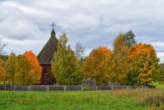 Igreja de madeira autêntica Lituânia Fotografia de Stock Royalty Free