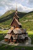 Igreja de madeira da pauta musical de Borgund em Noruega Fotografia de Stock Royalty Free
