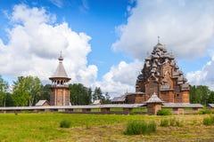 Igreja de madeira do russo da intercessão Imagem de Stock Royalty Free