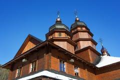 Igreja de madeira em Ivano-Frankivsk foto de stock