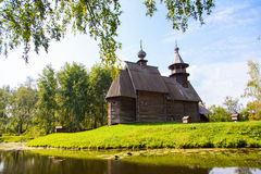 Igreja de madeira na cidade de Kostroma Fotos de Stock Royalty Free