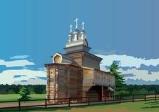 Igreja de madeira ortodoxo com três abóbadas Fotos de Stock