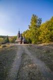 Igreja de madeira tradicional velha da região de Zakarpattia Imagens de Stock Royalty Free