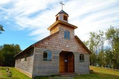 Igreja de madeira velha na ilha Aucar fotografia de stock royalty free