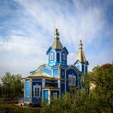 A igreja de madeira velha na vila moldova Fotografia de Stock Royalty Free