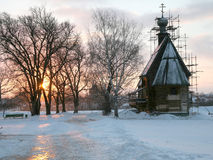 Igreja de Nicol. Por do sol Fotos de Stock Royalty Free
