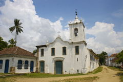 Igreja de Nossa Senhora das Dores. Little church from the beginning of the 19th century in Paraty, a portuguese colonial town on Brazil's Atlantic coast Royalty Free Stock Images