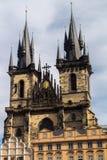 Igreja de nossa senhora na frente de Tyn, Praga, República Checa Foto de Stock Royalty Free