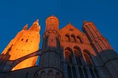 Igreja de nossa senhora na noite imagens de stock royalty free