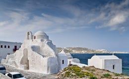 Igreja de Panaghia Paraportiani em Mykonos Fotografia de Stock Royalty Free