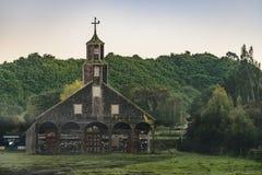 Igreja de Quinchao, ilha de Chiloe, o Chile fotografia de stock
