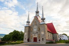 Igreja de Sainte-Famille na ilha de Orleans Fotografia de Stock Royalty Free