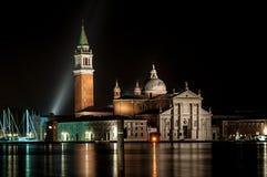 Igreja de San Giorgio Maggiore Venice Italy na noite fotos de stock