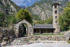 Igreja de Santa Coloma da estrutura do pre-românico em Andorra fotografia de stock