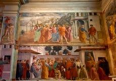 Igreja de Santa Maria del Carmine da capela de Brancacci do fresco, Florença, Firenze, Toscany, Itália imagens de stock