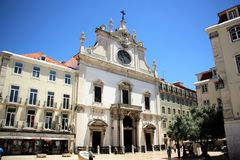 Igreja de Sao Domingos in Lisbon, Portugal. Igreja de São Domingos - a Roman Catholic church in Lisbon, the capital of Portugal. Its construction started in stock photography