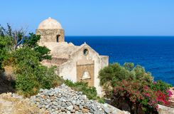 A igreja de St Anne em Monemvasia, Peloponnese, Grécia foto de stock