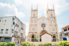 Igreja de St Francis Xavier em Malacca, Malásia fotos de stock royalty free