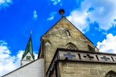 Igreja de St John Baptist Church no mercado em Saulgau mau, Alemanha Imagem de Stock Royalty Free