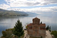 Igreja de St. John em Kaneo em Ohrid, Macedónia Fotografia de Stock Royalty Free