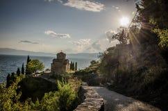 Igreja de St John em Kaneo, Ohrid, Macedônia fotografia de stock
