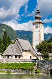 Igreja de St John o batista, lago Bohinj Fotografia de Stock