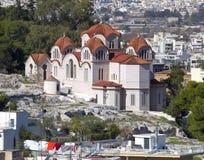 Igreja de St. Marei, porto de Agia, vista de Acrop Fotos de Stock Royalty Free