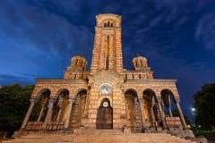 Igreja de St Mark na noite bonita em Belgrado Foto de Stock